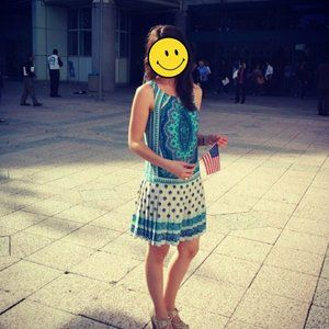 Blue and White Dress With Pleated Skirt